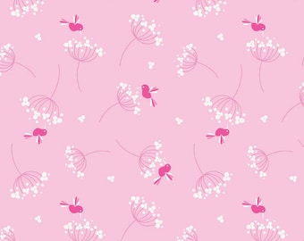 CLEARANCE -      Riley Blake Wildflower Meadow Pink Hummingbirds on Pink Cotton 1 Yard Listing  - Price per yard