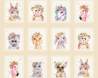 """P&B Textiles - Little Darlings by Sillier Than Sally Designs - 36"""" Block Repeat Little Darlings # LITD4155-MU - Cotton Woven Fabric"""
