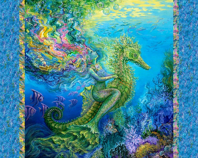 "3 Wishes Fabrics - Mystic Ocean Collection by Josephine Wall - Mermaid 36"" Panel 14606-Multi Cotton Woven Fabric"