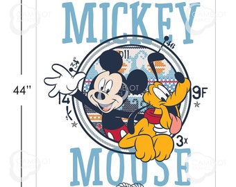 """Camelot Fabric - Licensed Disney's Mickey Mouse Oh Boy! - 36"""" Panel Mickey and Pluto in Multi #85270509P 01 Cotton Woven Fabric"""