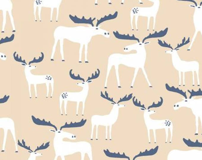 Dear Stella Fabric -  White Hibernation - moose on white cotton woven fabric