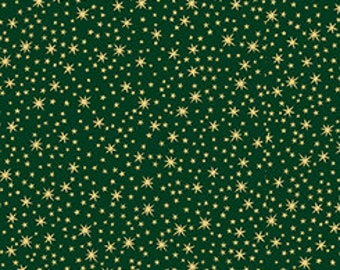 Quilting Treasures - Christmas Eve - Gold Metallic Stars on Green - Cotton Woven Fabric