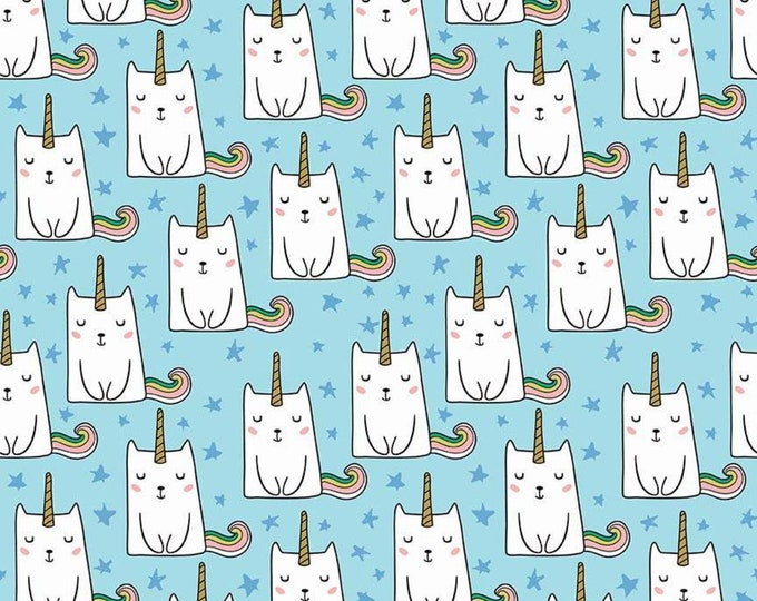 Caticorn Novelty Blue w/GOLD Metallic accents SC9008-BLUE - Webster's Pages for Riley Blake Fabrics