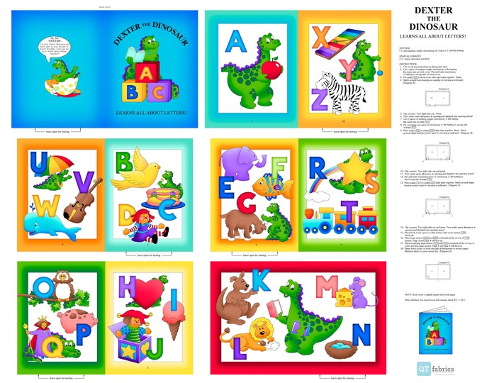 """Dexter the Dinosaur Learns about Letters Book Panel - 26932 - 36"""" Panel Cotton Woven Fabric - Sew N Go 7 by Quilting Treasures"""
