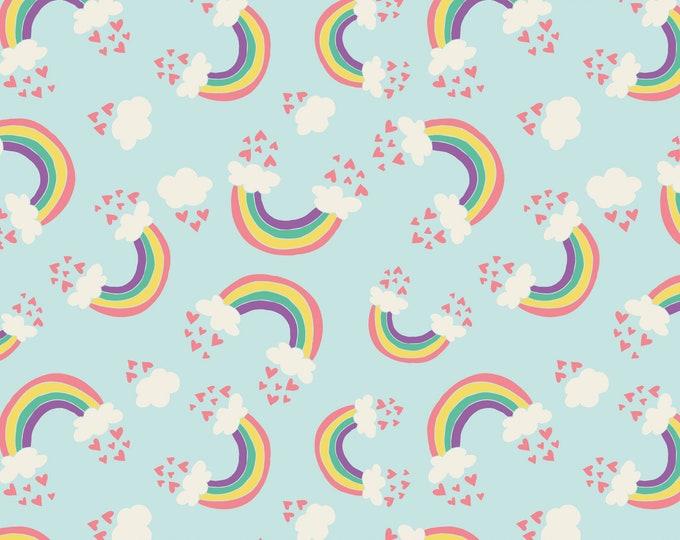 Camelot Fabric - I Believe in Unicorns - Rainbow & Hearts in Aqua -Cotton Woven