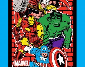 "Springs Creative - Retro Comics Hulk, Iron Man, Thor, captain america  36"" panel Cotton Woven Fabric"