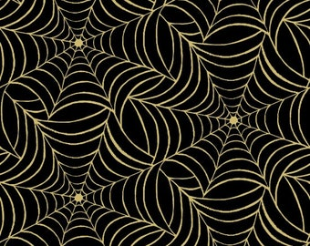 Henry Glass - Midnight Spell by First Blush Studio - Gold Metallic Spider Webs Black  - Cotton Woven Fabric