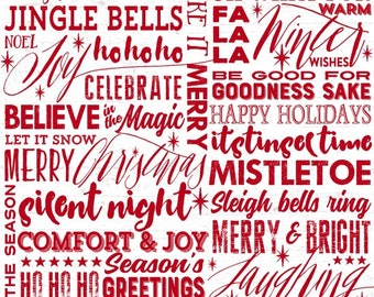 Henry Glass Fabric - Holiday Wishes - Seasons Words White     6925-8 Cotton Woven Fabric