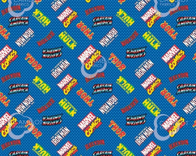 Marvel - Hero Logos - Blue - Cotton Woven Fabric