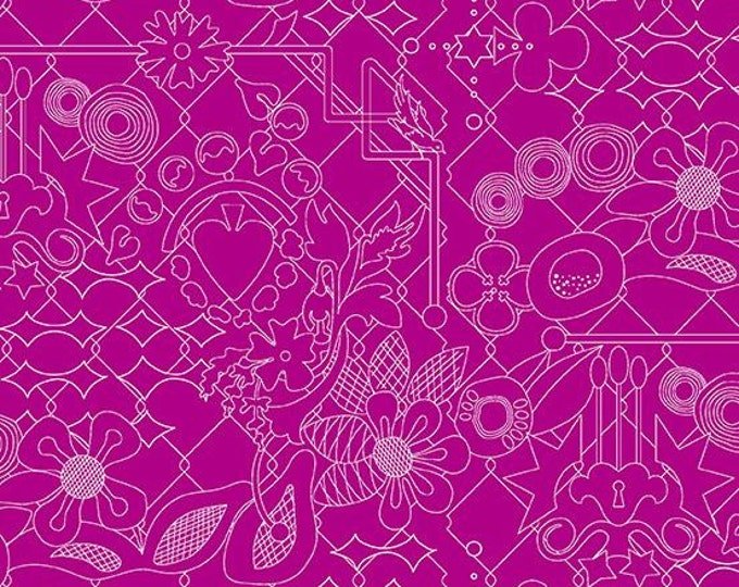 Andover Fabrics - Sun Print 2017 by Alison Glass -   A-8482-P Overgrown design in Plum Cotton Woven Fabric