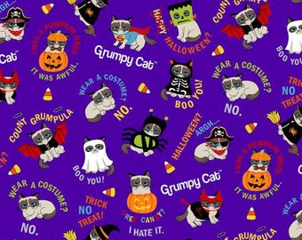 Marcus Brothers Fabric - Grumpy Cat Holidays - Purple Grumpy Cat Halloween - Cotton Woven Fabric