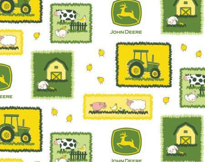 John Deere Tractors and Blocks on White Cotton Woven