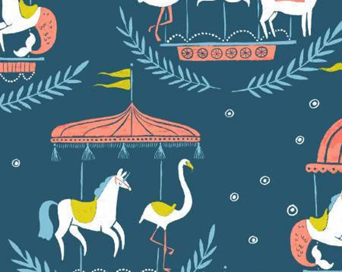 Seaside Carnival by Rae Ritchie Collection, Moonlight Merry Go Round on Navy Cotton Woven by Dear Stella