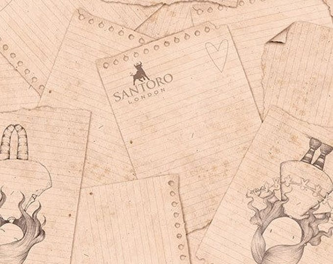 Quilting Treasures - Santoro's Gorjuss Letters from the Heart -   heart Sketches on Beige Cotton Woven Fabric