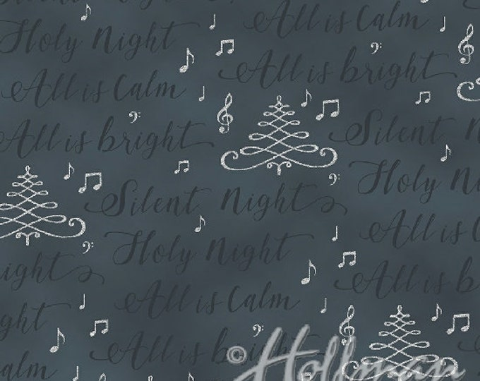 Hoffman Cardinal Carols - Silver Script on Charcoal - Metallic Cotton Woven Fabric