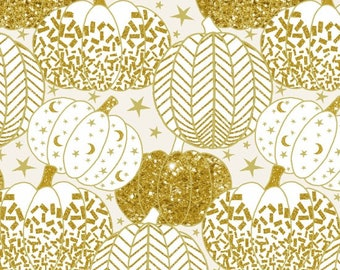 Henry Glass - Midnight Spell by First Blush Studio - Gold Metallic Pumpkins on White  - Cotton Woven Fabric
