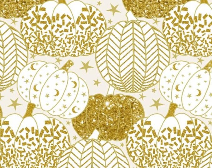 Midnight Spell - Gold Metallic Pumpkins on White  - Cotton Woven