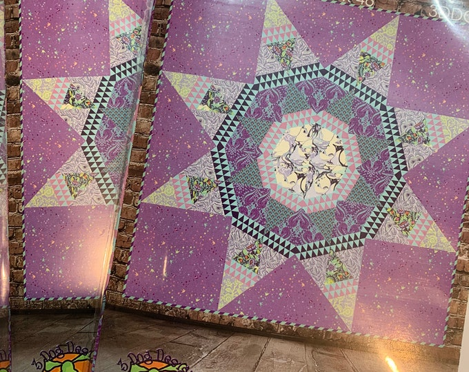 "Radiant by 3 Dog Designs Pattern - Finished size: 48"" x 48"" - PATTERN ONLY - Featuring Pinkerville by Tula Pink"