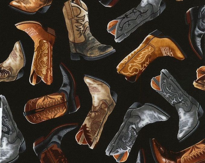 TImeless Treasures - Cowboy Boots on Black Cotton Woven Fabric
