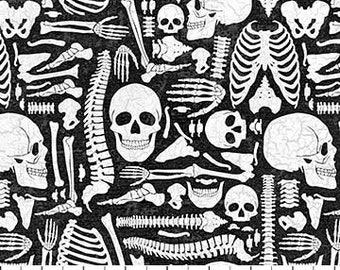Northcott - Elegantly Frightful - BONES on Black - Cotton Woven Fabric  22204-99