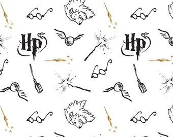 Camelot Fabric - Licensed Harry Potter Wizarding World Fabric - White Literary #23800145LE-1  100% Cotton Double Gauze Bambino
