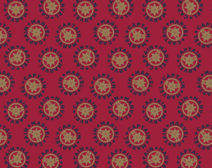 Camelot Fabrics - Licensed Captain Marvel - Red Logo #13020604-2 Cotton Woven Fabric