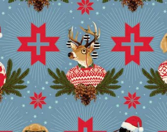Tula Pink - Limited Edition Holiday Homies - Buck, Buck, Goose - Blue Spruce  Cotton Woven Fabric