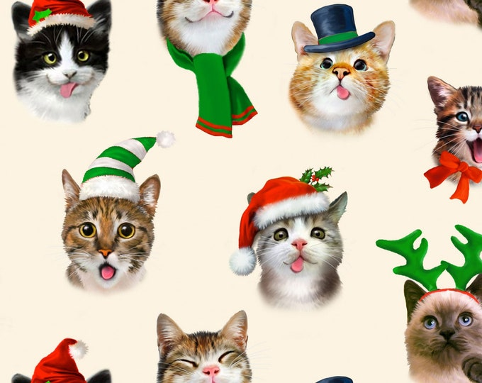 Elizabeth's Studio - Christmas Selfies by Howard Robinson - Cream Cat Christmas Selfies  1325E-CRM Cotton Woven Fabric