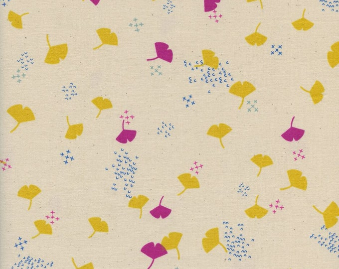 Firelight - Gingko - Cream  cotton woven fabric by Cotton + Steel