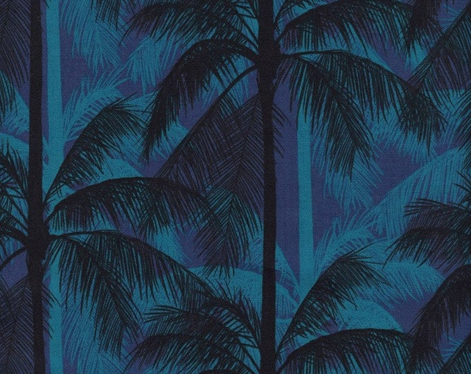 Cotton + Steel Fabric - Poolside - Palms on Blue cotton woven fabric