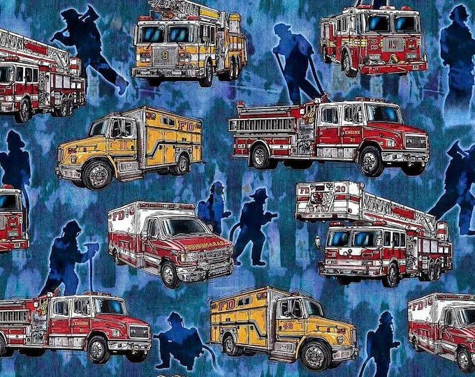 5 Alarm by Dan Morris, Firetrucks on Blue Cotton Woven