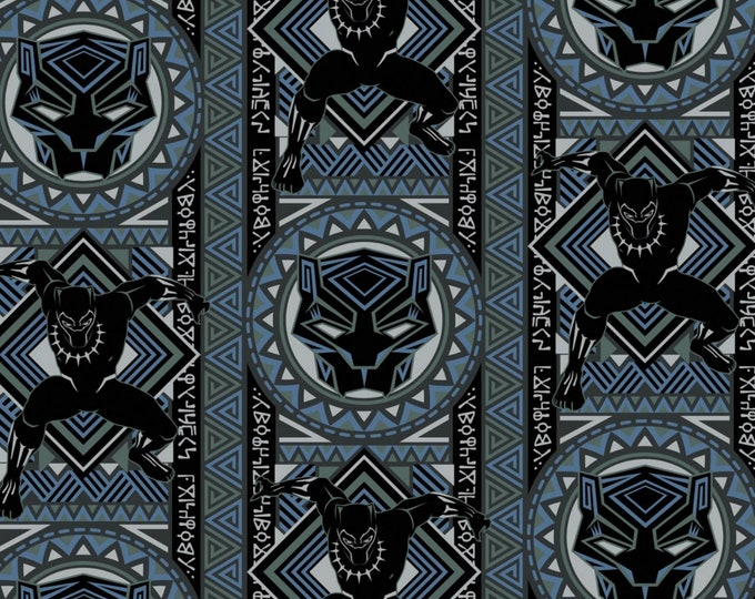Camelot Fabric - Licensed Marvel Black Panther - Blue Mosaic #13020446-3 Cotton Woven Fabric