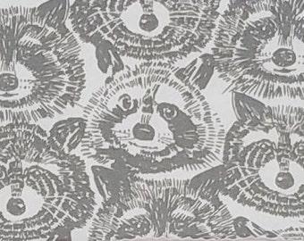 Alexander Henry Rocky Raccoon Gray Cotton KNIT Fabric