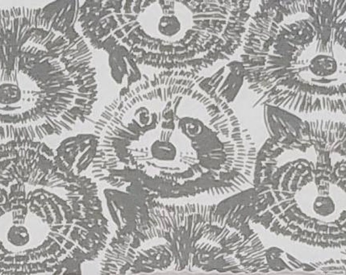 Alexander Henry Rocky Raccoon Gray Cotton KNIT Fabric