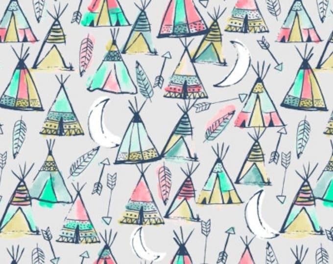 Dear Stella  - Llamaste - Teepees on Dove Stella - 1175 Cotton Woven Fabric