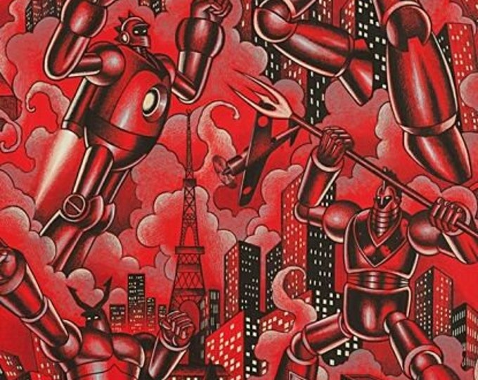 Tokyo Bots Red Robots cotton woven fabric by Alexander Henry
