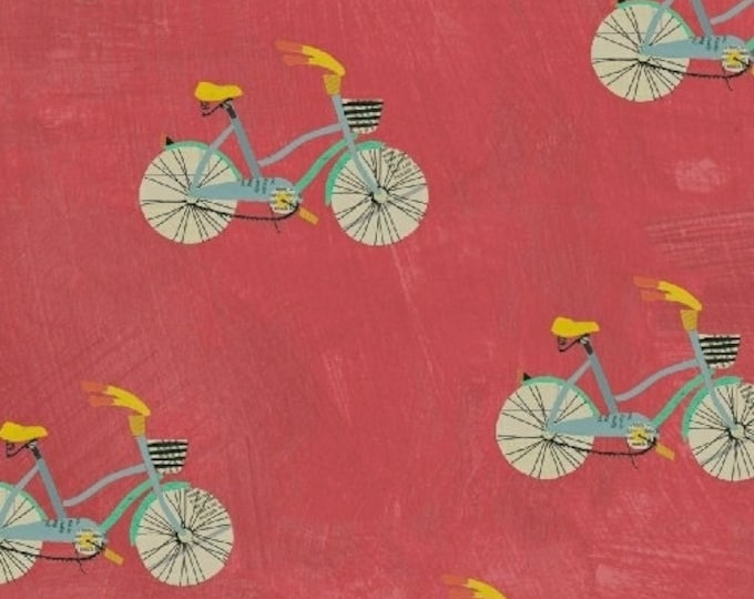 Carrie Bloomston - Wonder - Bikes on Coral - Cotton Woven Fabric - Windham 50516-6