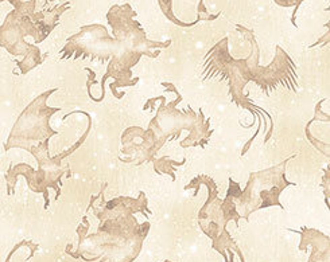 Spellbound, Mystical Beasts on Cream cotton woven fabric by Quilting Treasures