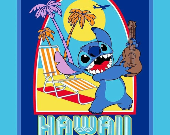 CLEARANCE -      Lilo and Stitch Surf's Up Cotton Woven panel, Springs Creative