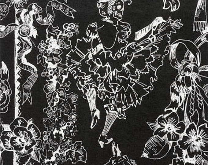 Can Can Black Cotton Woven by Alexander Henry