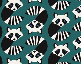 Timeless Treasures - Geometric Raccoons Fun-C7441-Teal - Cotton Woven Fabric