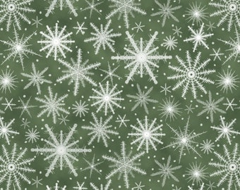 Henry Glass Fabric - Holiday Wishes - Snowflakes Green     6932-66 Cotton Woven Fabric