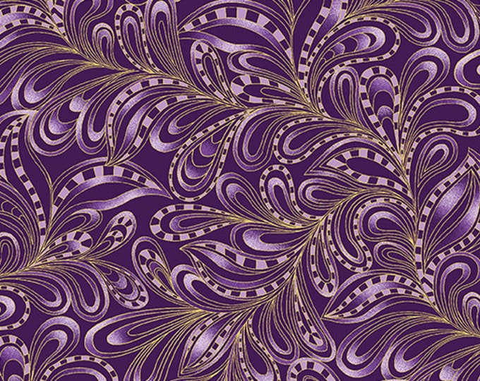 Benartex Fabrics  - Cat-i-tude Christmas by Ann Lauer -Plum Featherly Paisley Cotton Woven Fabric with Metallic Accents 7555M-67