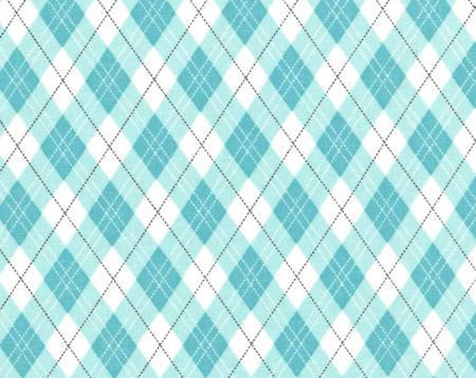 Rustique Winter, Aqua Gift Wrap cotton woven fabric by Michael Miller Fabrics