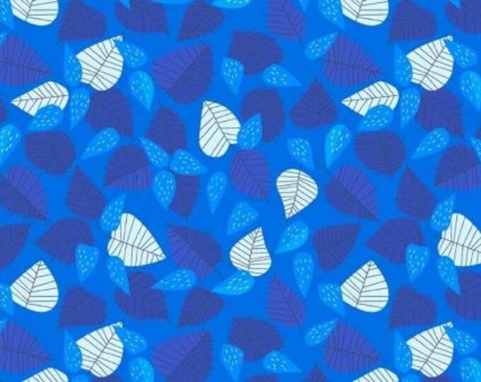 CLEARANCE -      Andover Fabric - The Lovely Hunt by Lizzy House -  Leaf in Blue Cotton Woven Fabric - 1 yard listing
