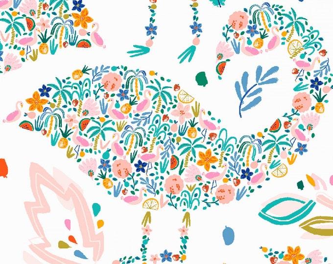 Dear Stella - Flockstar - White Flamingo  # ST-1259WHIT Cotton Woven Fabric