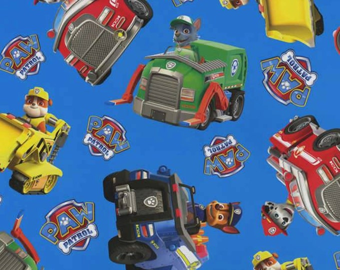 CLEARANCE - David Textiles - Paw Patrol Rescue Cars Tossed on Blue Cotton Woven Fabric - Priced per yard
