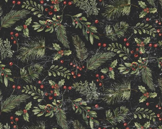 Free Spirit - Eclectic Elements - Yuletide by Tim Holtz - Festive Greens Black PWTH120.BLACK - Cotton Woven Fabric