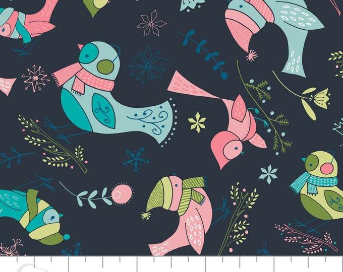 Camelot Fabric - Winter Wonderland -  Birds on Dark Blue Cotton Woven Fabric