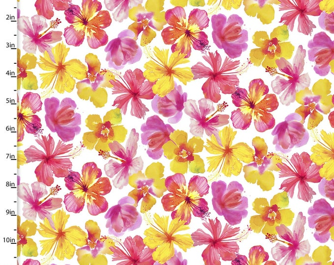 3 Wishes Fabric - Tropicale - Digitally Printed - Flowers  13781 Cotton Woven Fabric